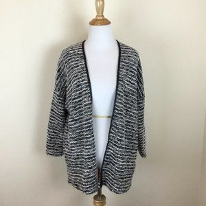 H&M Divided Black White Tweed Knit Front Cardigan